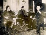 ALBERT EINSTEIN German born physicist. Playing the violin on board the steamer 'Deutschland' from Europe to the USA.