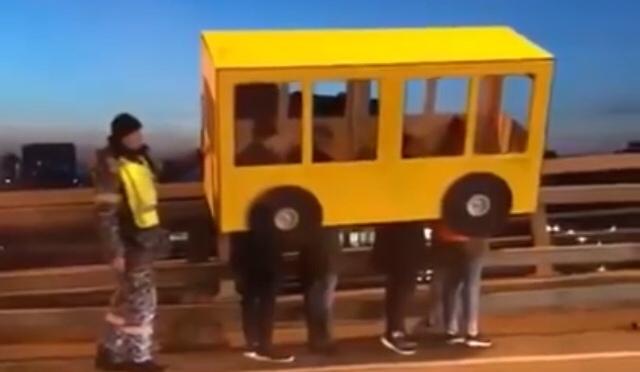 "Bus Costume Fails to Cross ""No Pedestrians"" Bridge in Russia"